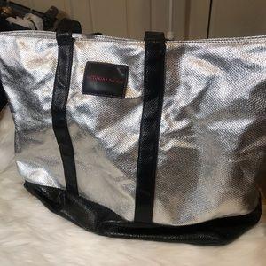 Victoria's Secret Metallic Silver Tote Black Large